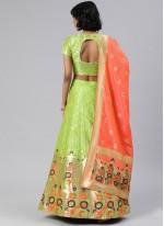 Banarasi Silk Green A Line Lehenga Choli