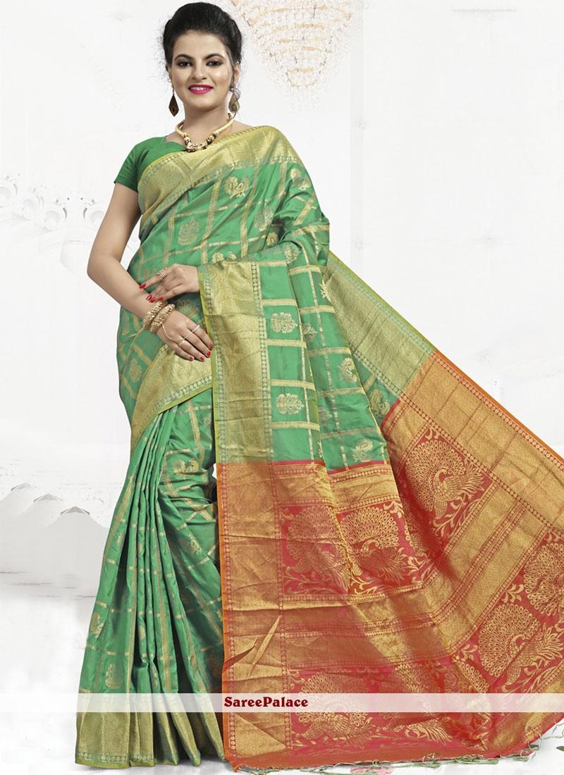 Banarasi Silk Green Abstract Print Classic Saree