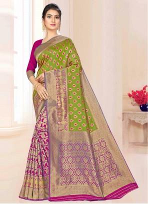 Banarasi Silk Green and Magenta Bollywood Saree