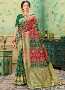 Banarasi Silk Green and Red Weaving Classic Saree