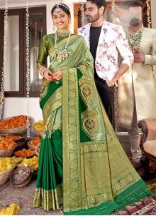 Banarasi Silk Green Festival Designer Saree