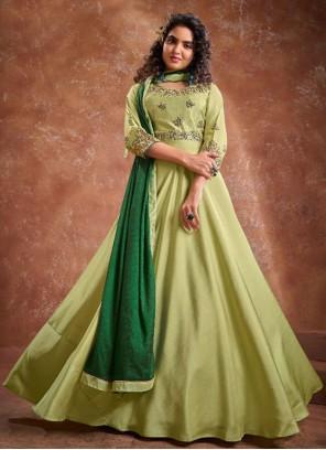 Banarasi Silk Green Embroidered Readymade Suit