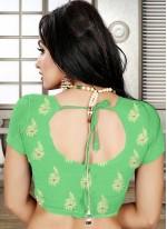 Banarasi Silk Green Patch Border Designer Saree