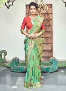 Banarasi Silk Green Trendy Saree