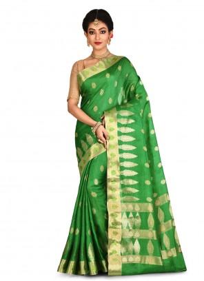 Banarasi Silk Green Weaving Contemporary Saree