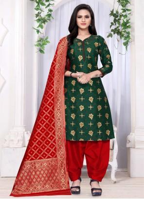 Banarasi Silk Green Weaving Punjabi Suit