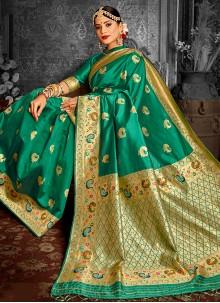 Banarasi Silk Green Weaving Traditional Designer Saree