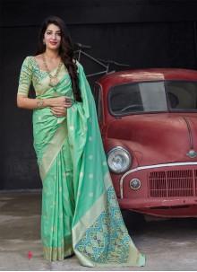 Banarasi Silk Green Woven Classic Saree