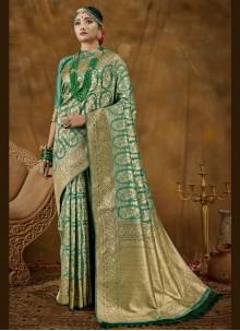 Banarasi Silk Green Woven Designer Traditional Saree