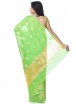 Banarasi Silk Green Zari Classic Designer Saree