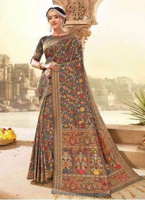 Banarasi Silk Grey Classic Designer Saree