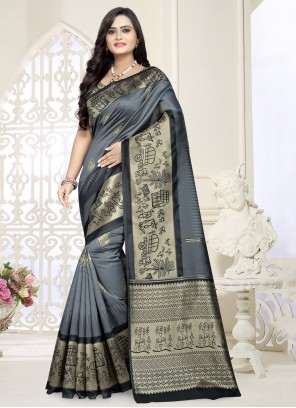 Banarasi Silk Grey Designer Saree