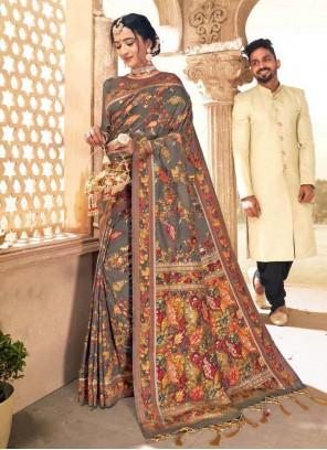 Banarasi Silk Grey Digital Print Traditional Designer Saree