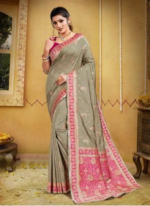 Banarasi Silk Grey Traditional Designer Saree