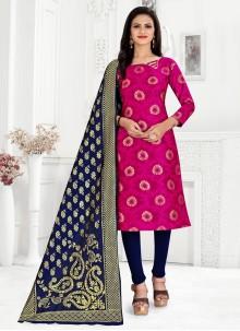 Banarasi Silk Hot Pink Churidar Suit