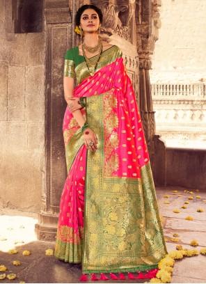 Banarasi Silk Hot Pink Designer Traditional Saree