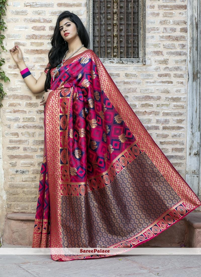 Banarasi Silk Hot Pink Weaving Saree