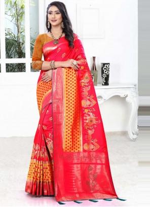 Banarasi Silk Hot Pink Traditional Designer Saree