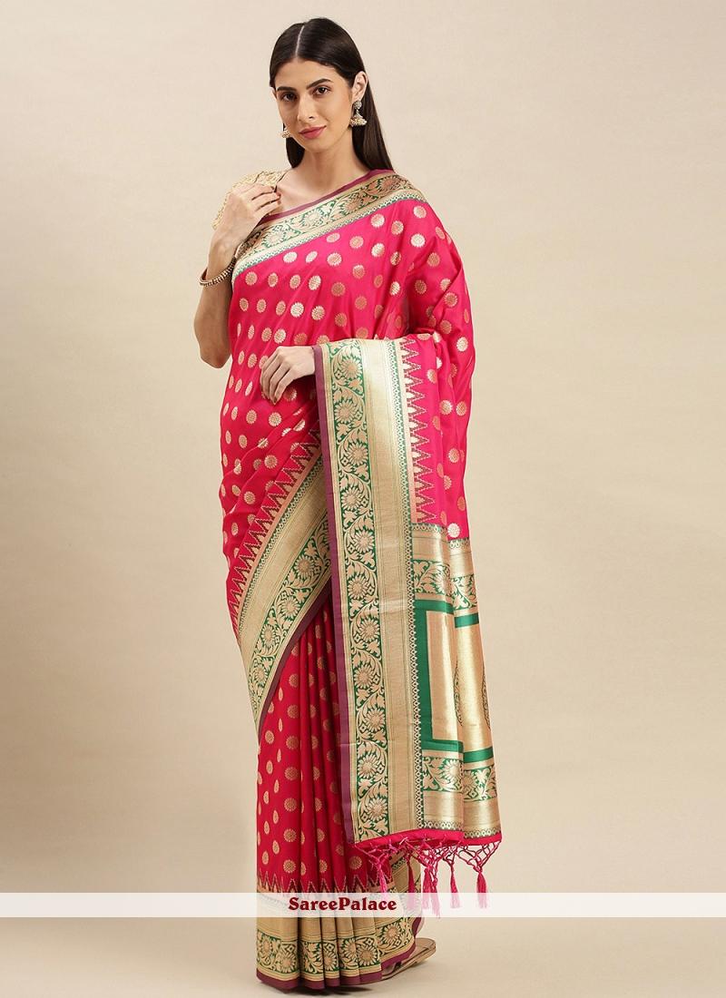 Banarasi Silk Hot Pink Weaving Traditional Saree