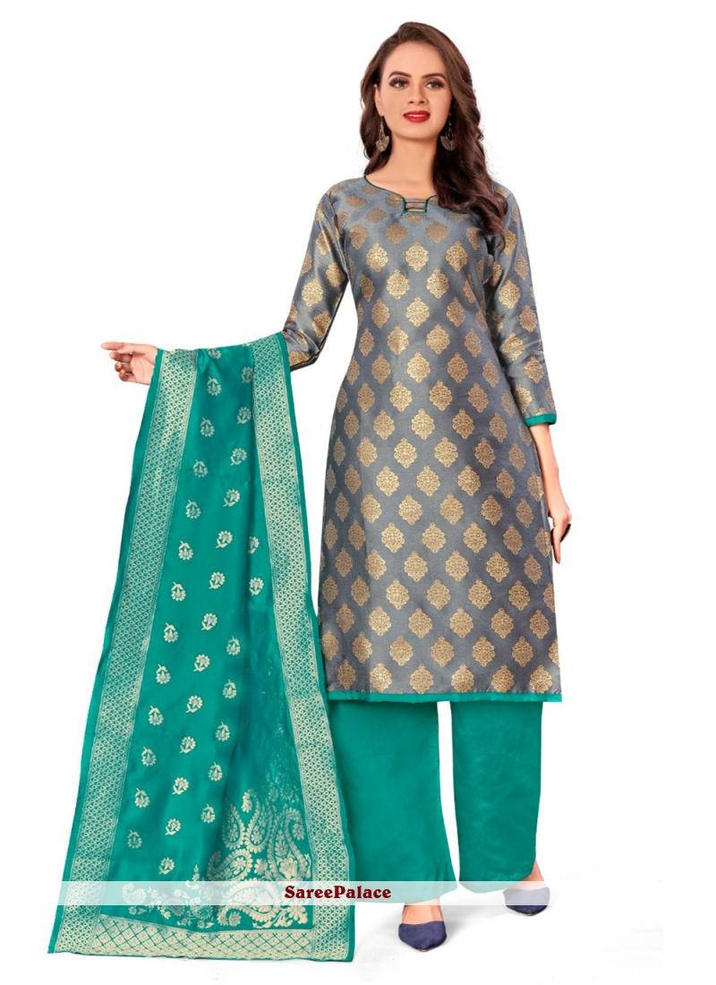 Banarasi Silk Jacquard Work Grey Designer Palazzo Salwar Kameez