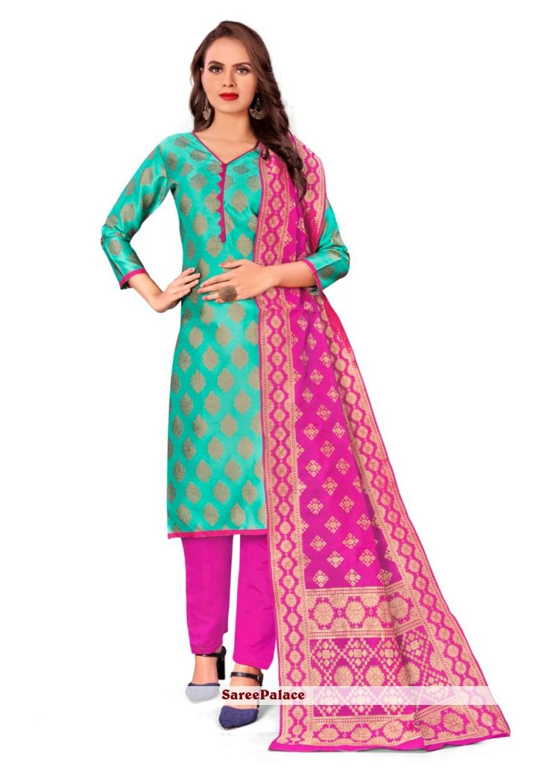 Banarasi Silk Jacquard Work Pant Style Suit in Green