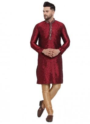 Banarasi Silk Kurta Pyjama in Maroon