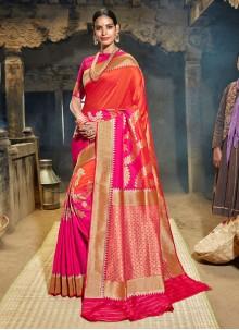 Banarasi Silk Magenta and Orange Half N Half Trendy Saree