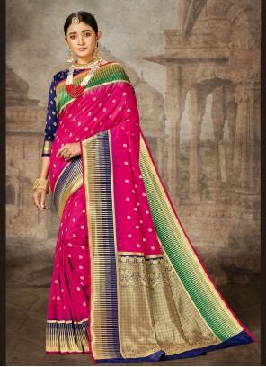 Banarasi Silk Magenta Classic Saree
