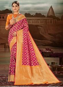 Banarasi Silk Magenta Traditional Designer Saree