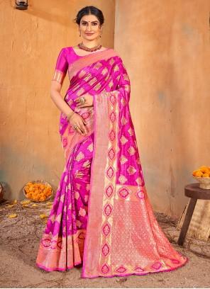 Banarasi Silk Magenta Weaving Classic Saree