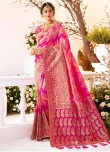 Banarasi Silk Magenta Weaving Traditional Saree
