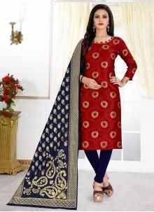 Banarasi Silk Maroon Churidar Designer Suit
