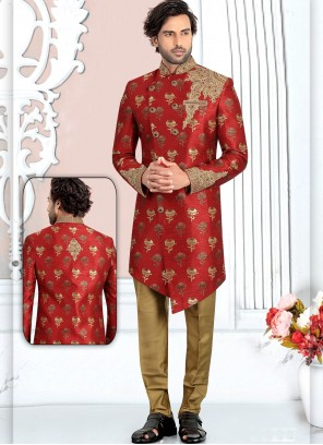 Banarasi Silk Maroon Embroidered Indo Western Sherwani