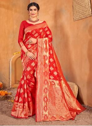 Banarasi Silk Red Mehndi Classic Saree