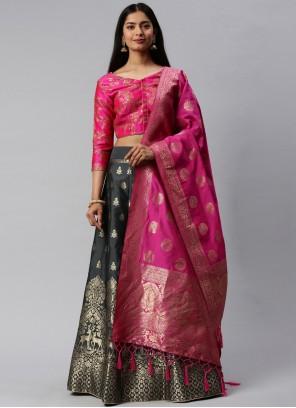 Hot Pink And Grey Banarasi Silk Mehndi Lehenga Choli