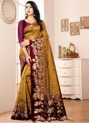 Banarasi Silk Mustard Designer Traditional Saree