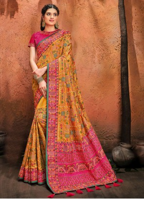 Banarasi Silk Mustard Resham Designer Traditional Saree