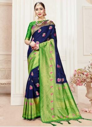 Banarasi Silk Navy Blue Designer Traditional Saree