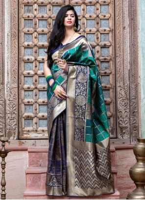 Banarasi Silk Multi Colour Weaving Classic Saree