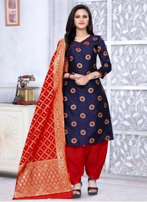 Banarasi Silk Navy Blue Weaving Punjabi Suit