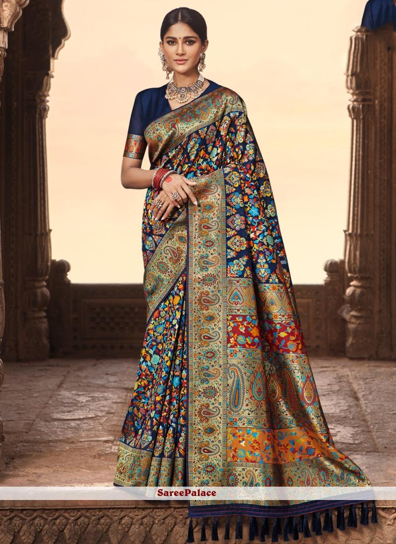 Banarasi Silk Navy Blue Weaving Traditional Designer Saree