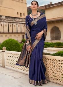 Banarasi Silk Navy Blue Weaving Trendy Saree
