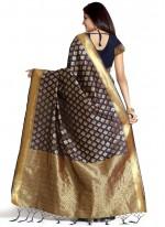 Banarasi Silk Navy Blue Weaving Work Traditional  Saree