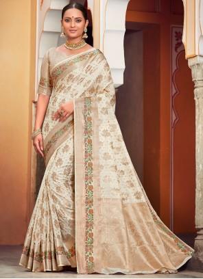 Banarasi Silk Off White Trendy Saree