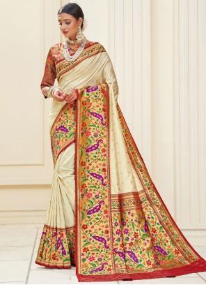 Banarasi Silk Off White Weaving Designer Traditional Saree