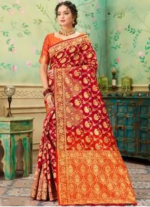 Banarasi Silk Orange and Red Weaving Classic Saree