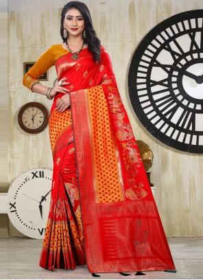 Banarasi Silk Orange and Red Weaving Designer Traditional Saree