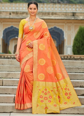 Banarasi Silk Orange Designer Saree