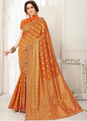 Banarasi Silk Orange Embroidered Classic Saree