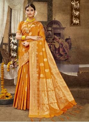 Banarasi Silk Orange Traditional Designer Saree